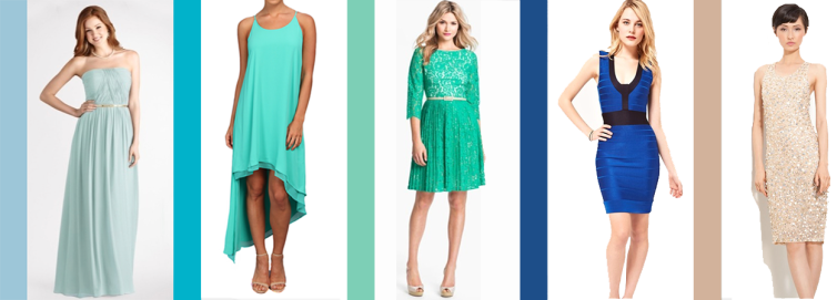 Aquamarine- Lauren Ruched Sweetheart by Donna Morgan Rent $37 Scuba Blue- Azul by BCBG Rent $38 Lucite Green-My Fair Lady by Eliza J Rent $27 Classic Blue- Blue Bodycon by French Connection Rent $28 Toasted Almond- Luna by Alice + Olivia Rent $62