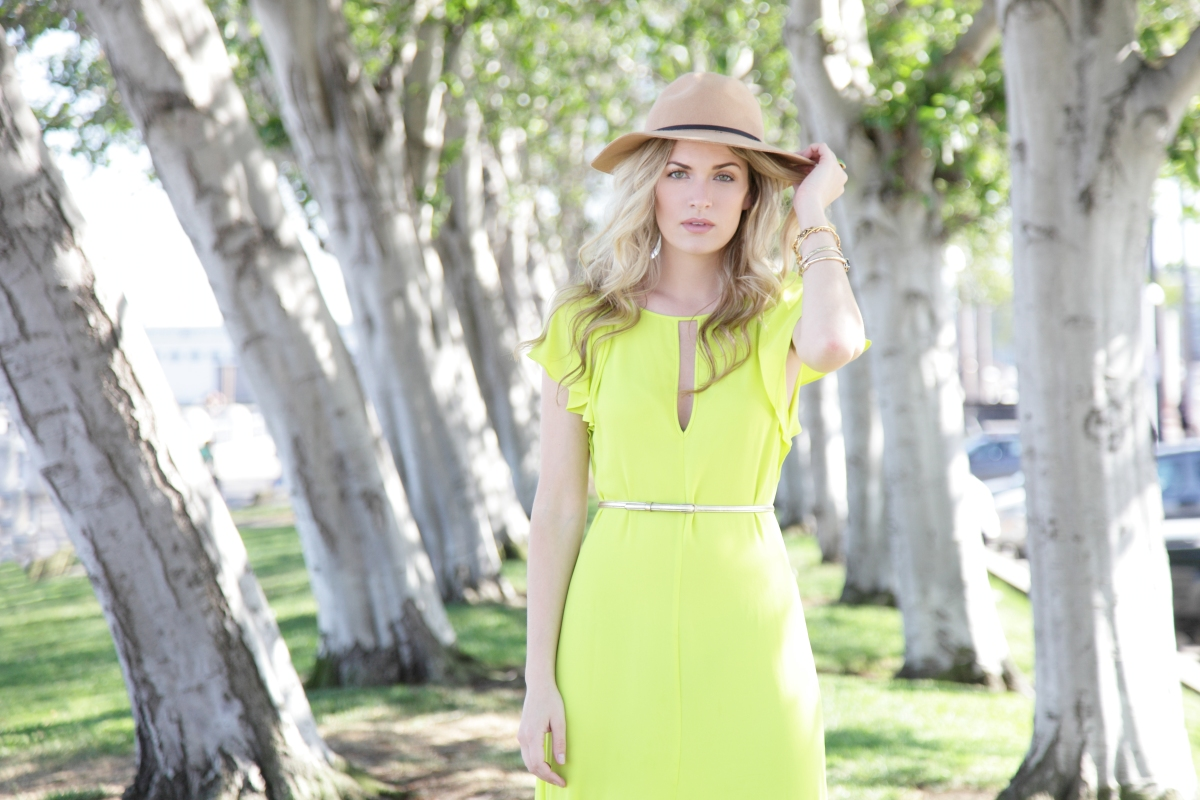 Brittany goes green in ourJulianne dress.