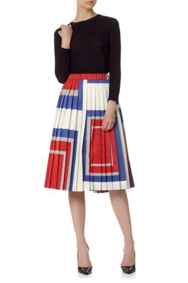 Suno Multicolor Multi Graphic Dots Pleated Skirt