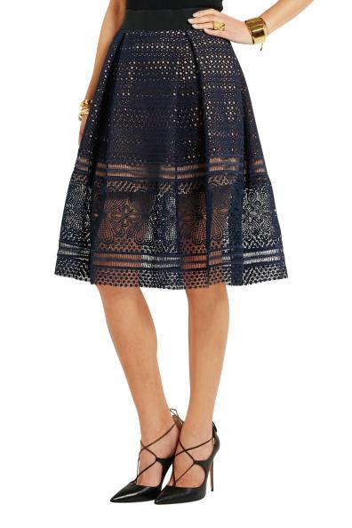 Self-Portrait Sofia pleated guipure lace skirt