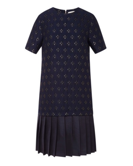 Suno Jacquard Pleated Hem Shift Dress