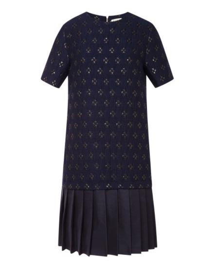 Suno Jacquard Pleated Hem Shift Dress