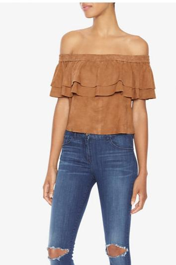 Charlotte Eskildsen Not So Cold Off The Shoulder Suede Top